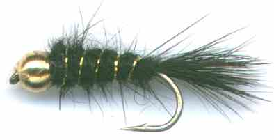 Black Beaded Gold Ribbed Hare's Ear Nymph for rainbow and Brown Trout fishing