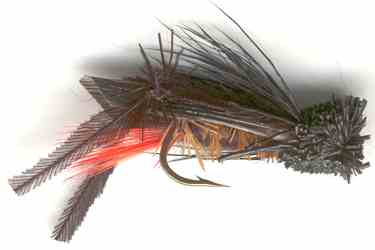 Black Hopper Dry Fly for Rainbow trout fishing