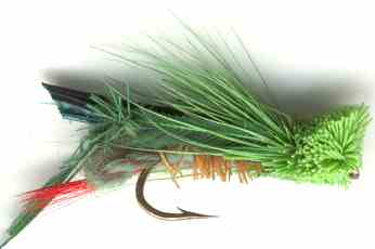 Green Hopper Dry Fly for Rainbow trout fishing