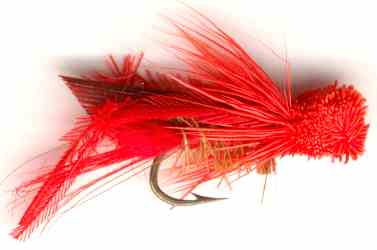 Red Hopper Dry Fly for Rainbow trout fishing