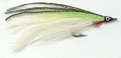 The White and Chartreuse Lefty's Deceiver Saltwater fly fishing pattern