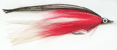 The White and Red Lefty's Deceiver Saltwater fly fishing pattern