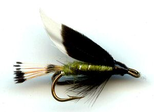 Green Heckham Peckham Double Hook Wet Fly for trout fishing