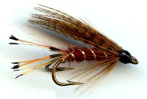 The Mallard and Claret Double Hook Wet Fly for sea trout fishing