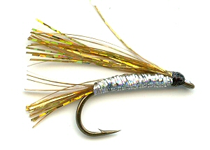Gold and Silver Sparkler Fly pattern for trout fishing