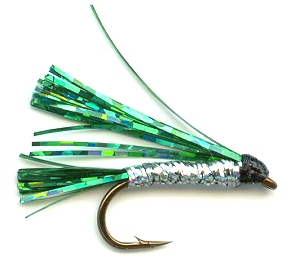 Green and Silver Sparkler Fly pattern for trout fishing