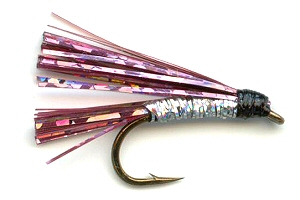 Pink and Silver Sparkler Fly pattern for trout fishing