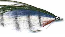 Barred White and Blue Lefty's Deceiver fly pattern