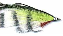 Barred White and Chartreuse Lefty's Deceiver fly pattern