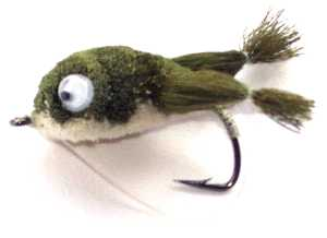 The Largemouth Bass Olive and White tummy Bass Bug Kickin Frog