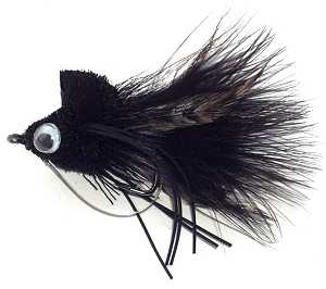 The Black Diving Bass Bug  fishing fly pattern for smallmouth and largemouth bass and pike