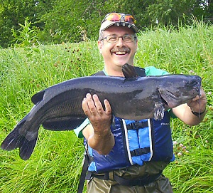 Photograph of a Channel Catfish caught on a Muddler Minnow fishing fly