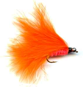 The Orange Cats Whisker streamer Rainbow Trout flyfishing fly