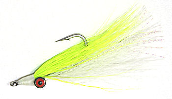 Chartreuse & White Clouser's Deepwater Minnow fly pattern