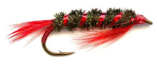 Diawl Bach Red Holo fly fishing Nymph pattern