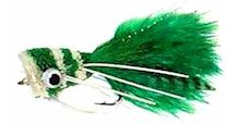Green and White Popper Bass Bug for largemouth bass fishing