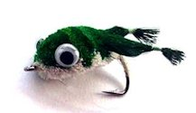 Green and White Kicking Frog Bass Bug for largemouth bass fishing