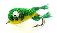 Light Green and Yellow Kicking Bass Bug for largemouth bass fishing