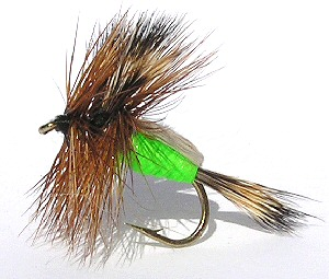 Lime Humpy dry fly for rough water Brown trout fishing