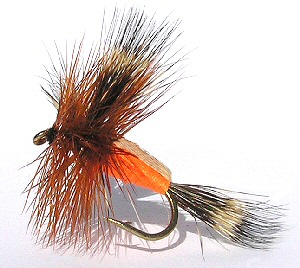 Orange Humpy dry fly for rough water Brown trout fishing