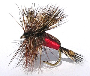 Red Humpy dry fly for rough water Brown trout fishing