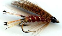 Mallard and Claret Double Hook Wet fly pattern