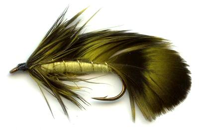 Yellow and Olive Grizzly Matuka streamer Fly pattern