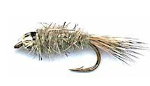 Natural Gray Beaded Gold Ribbed Hare's Ear Nymph fly pattern
