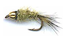 Olive Beaded Gold Ribbed Hare's Ear Nymph fly pattern