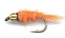 Orange Beaded Gold Ribbed Hare's Ear Nymph fly pattern