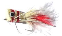 Red and White Popper Bass Bug for largemouth bass fishing