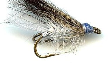 Silver and Gray Double Hook Wet fly pattern