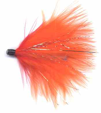 Winter Steelhead Soft Hackle Red and Orange Volcano Alaskabou Marabou Tube Fly